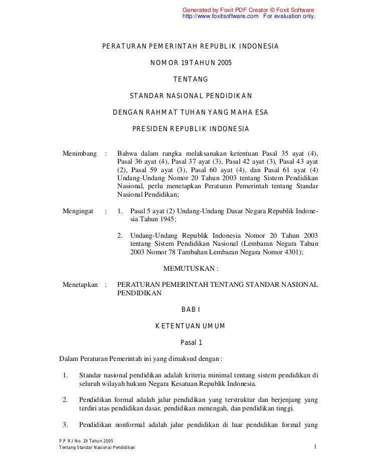 Pp nomor-19-tahun-2005 ttg standarisasi pendidikan nasional