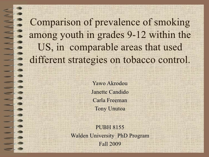 Comparison of prevalence of smoking among youth in grades 9-12 within the US, in  comparable areas that used different str...