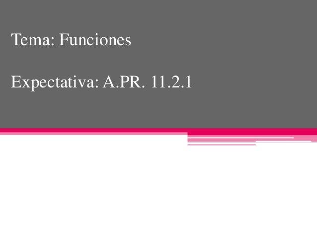 Tema: Funciones Expectativa: A.PR. 11.2.1