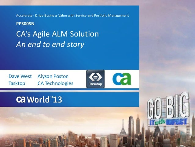 CA's Agile ALM SolutionAn end to end storyPP300SNAccelerate - Drive Business Value with Service and Portfolio ManagementDa...