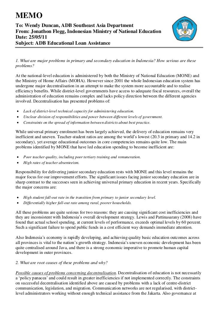 Asian Development Bank Indonesian Educational Loan Assistance Programme