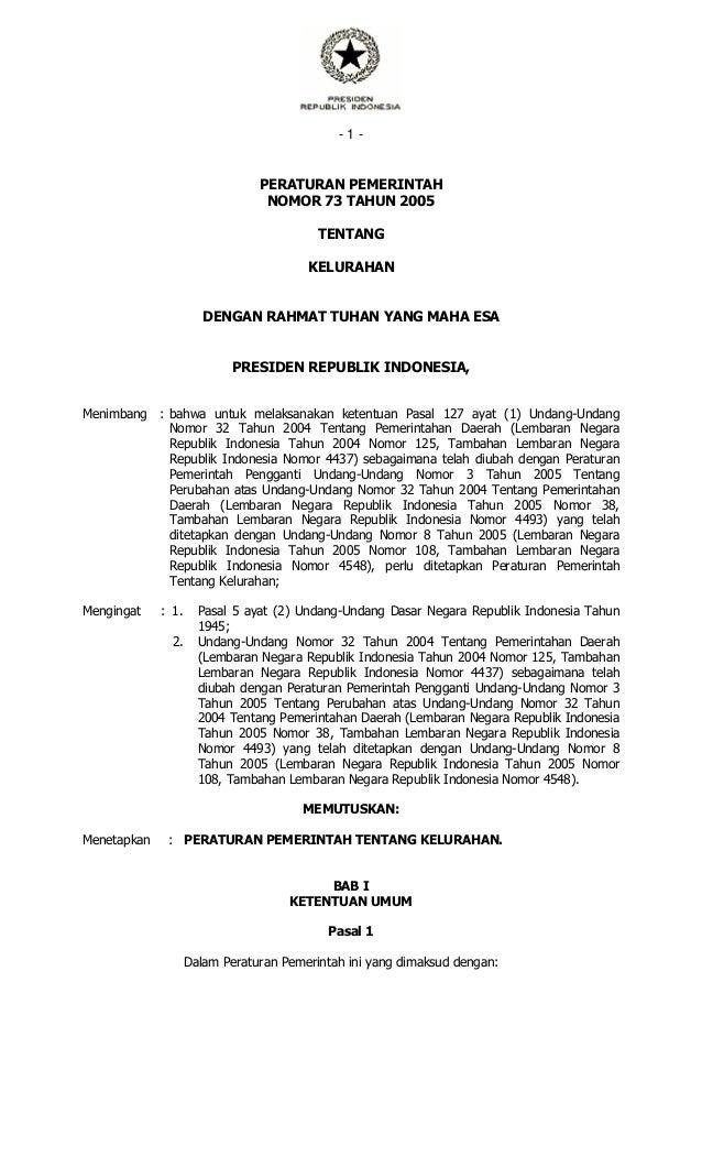 Peraturan Pemerintah No. 73 Tahun 2005 tentang Kelurahan