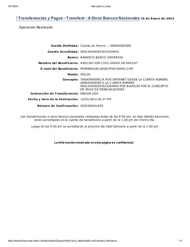 15/1/2014 Mercantil en Línea https://www30.bancomercantil.com/olb/GeneralDispatch?fwd=print_otherBanksFundTransferConfirma...