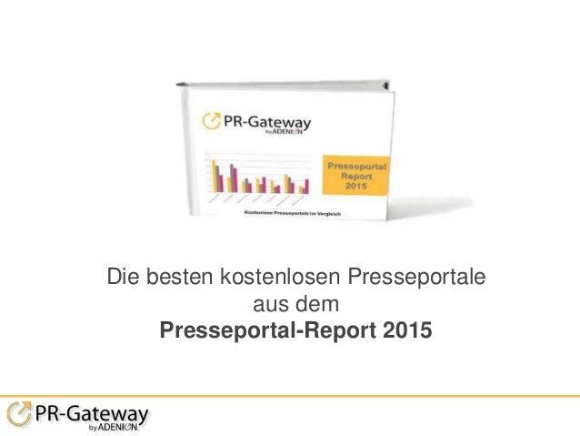 Die besten kostenlosen Presseportale aus dem Presseportal-Report 2015