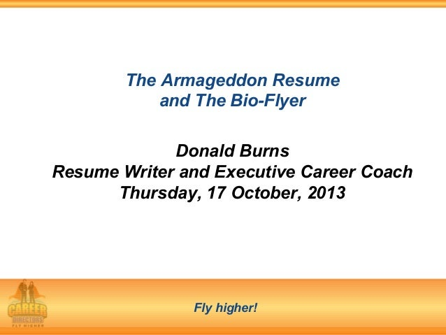 armageddon resume bio flyer