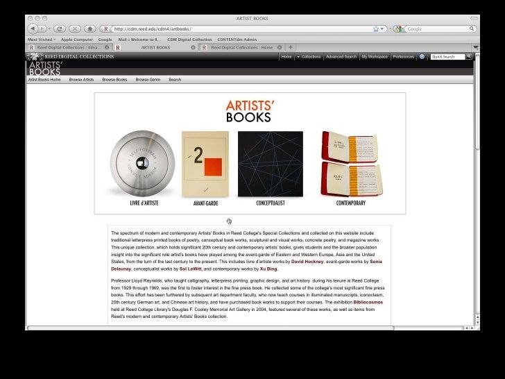 VRA2010 Reed Digital Collections: Artists' Books