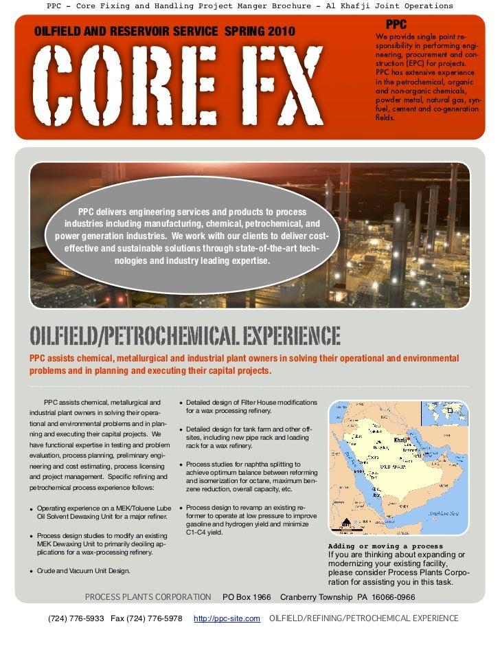 PPC - Core Fixing and Handling Project Manger Brochure - Al Khafji Joint Operations                                       ...