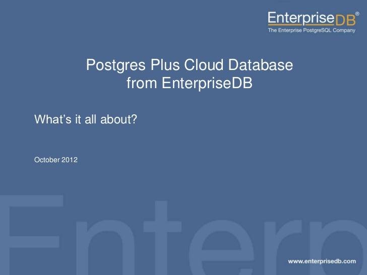 Postgres Plus Cloud Database