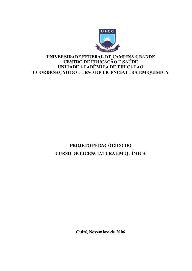 PROJETO PEDAGÓGICO DO CURSO DE LICENCIATURA EM QUÍMICA