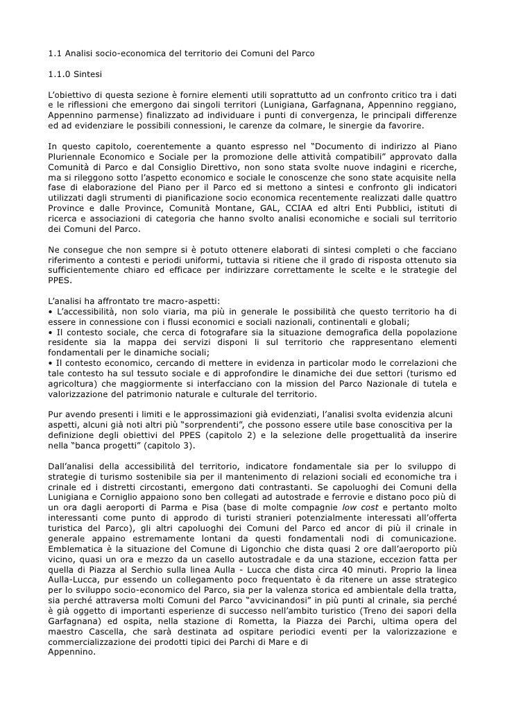 1.1 Analisi socio-economica del territorio dei Comuni del Parco  1.1.0 Sintesi  L'obiettivo di questa sezione è fornire el...