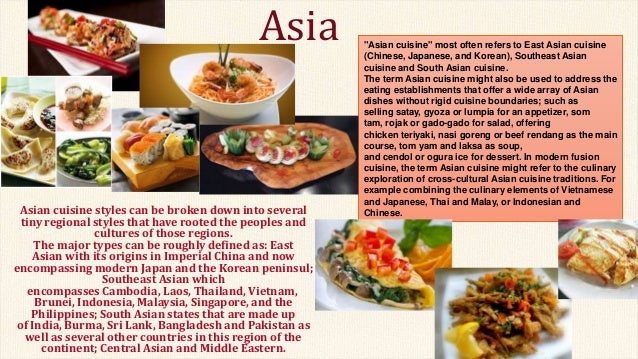Food around the world english project for Aja east asia cuisine