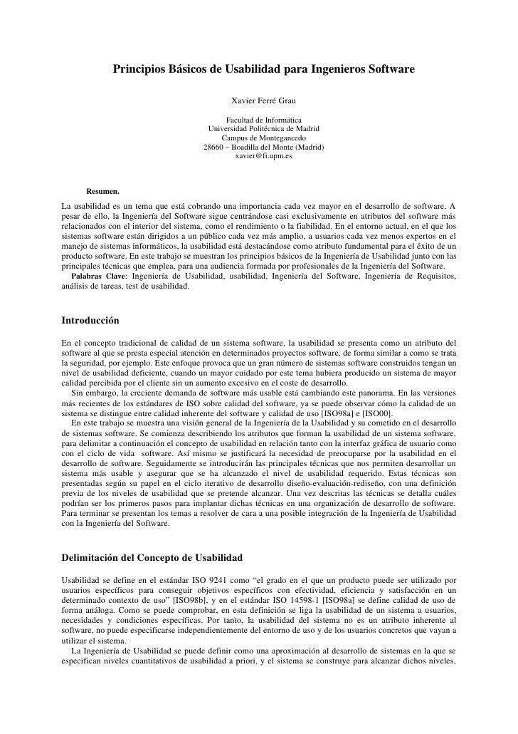 Principios Básicos de Usabilidad para Ingenieros Software                                                 Xavier Ferré Gra...