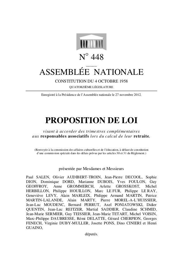 N° 448                                              _____        ASSEMBLÉE NATIONALE                    CONSTITUTION DU 4 ...