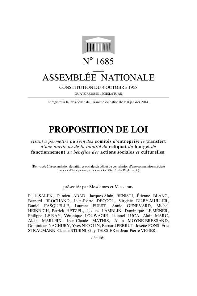 N° 1685 _____  ASSEMBLÉE NATIONALE CONSTITUTION DU 4 OCTOBRE 1958 QUATORZIÈME LÉGISLATURE  Enregistré à la Présidence de l...