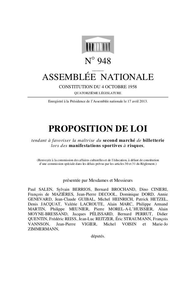N° 948_____ASSEMBLÉE NATIONALECONSTITUTION DU 4 OCTOBRE 1958QUATORZIÈME LÉGISLATUREEnregistré à la Présidence de l'Assembl...