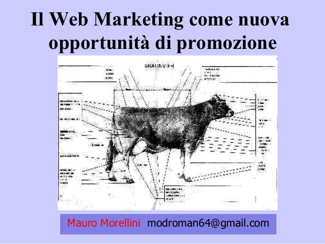 Mauro Morellini modroman64@gmail.com Il Web Marketing come nuova opportunità di promozione