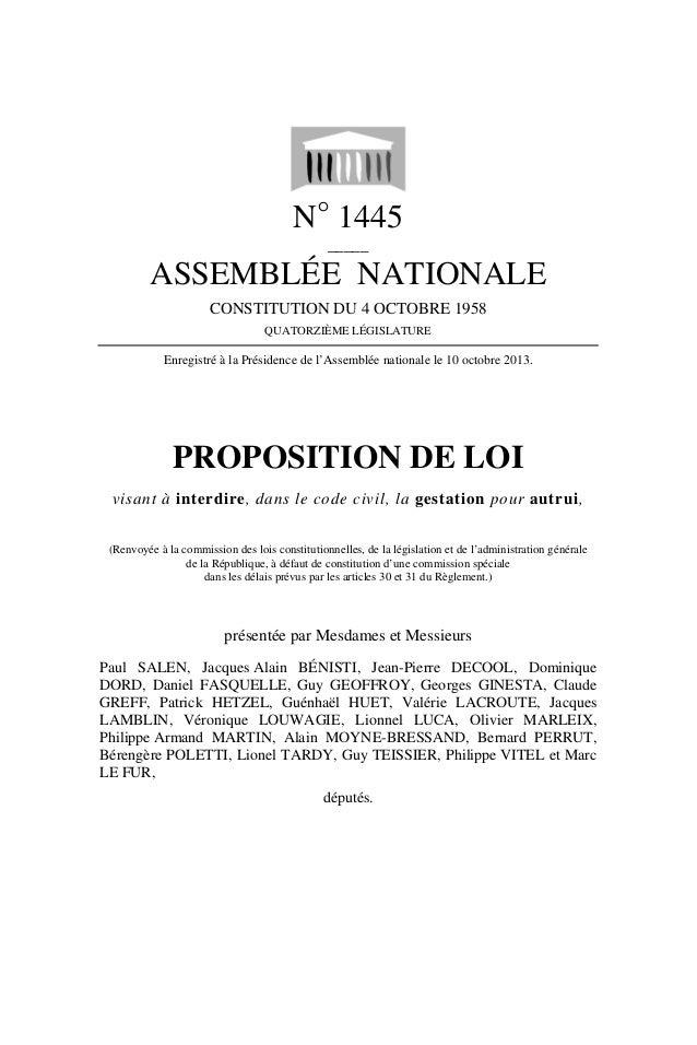 N° 1445 _____  ASSEMBLÉE NATIONALE CONSTITUTION DU 4 OCTOBRE 1958 QUATORZIÈME LÉGISLATURE  Enregistré à la Présidence de l...