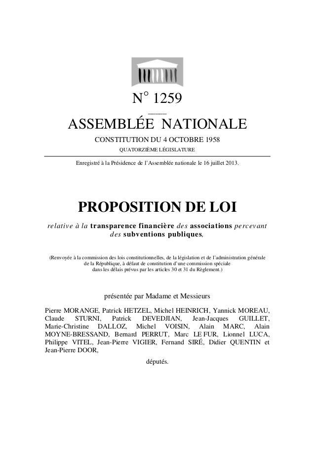 N° 1259 _____ ASSEMBLÉE NATIONALE CONSTITUTION DU 4 OCTOBRE 1958 QUATORZIÈME LÉGISLATURE Enregistré à la Présidence de l'A...