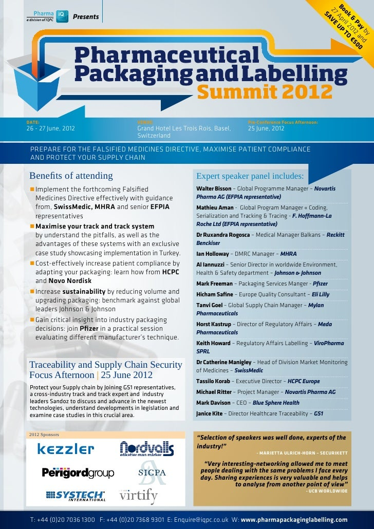Pharmaceutical Packaging and Labelling Summit 2012