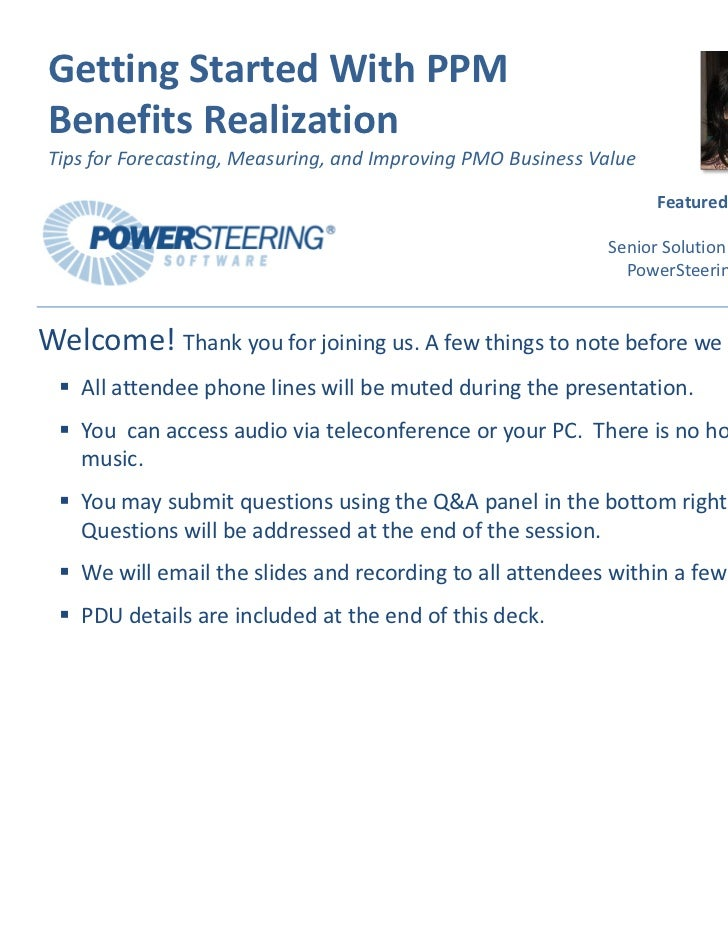 Getting Started with PPM Benefits Realization