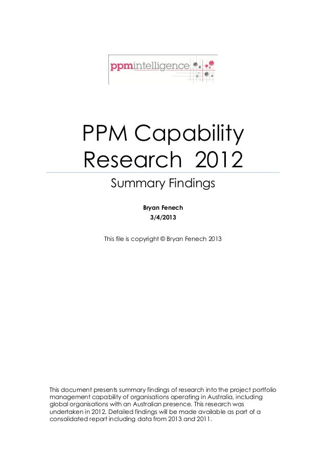 PPM Capability           Research 2012                     Summary Findings                                Bryan Fenech   ...