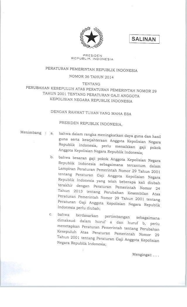 Pp no.36 tahun 2014 gaji polri