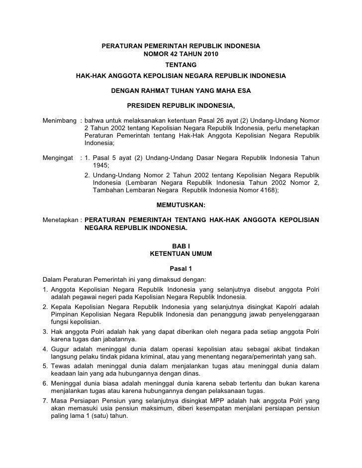 PERATURAN PEMERINTAH REPUBLIK INDONESIA                             NOMOR 42 TAHUN 2010                                   ...