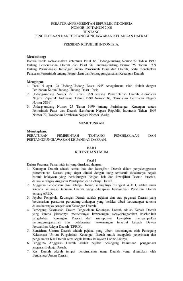 Peraturan Pemerintah No. 105 Tahun 2000 tentang Pengelolaan Dan Pertanggungjawaban Keuangan Daerah