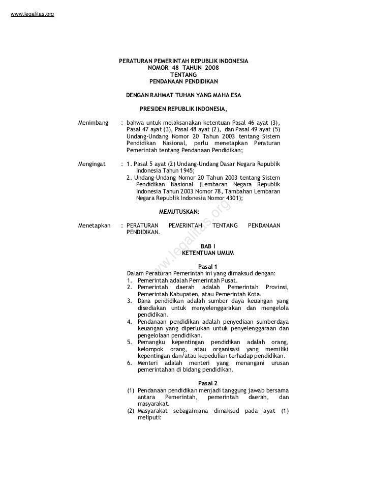Pp no 48 tahun 2008 danapendidikan