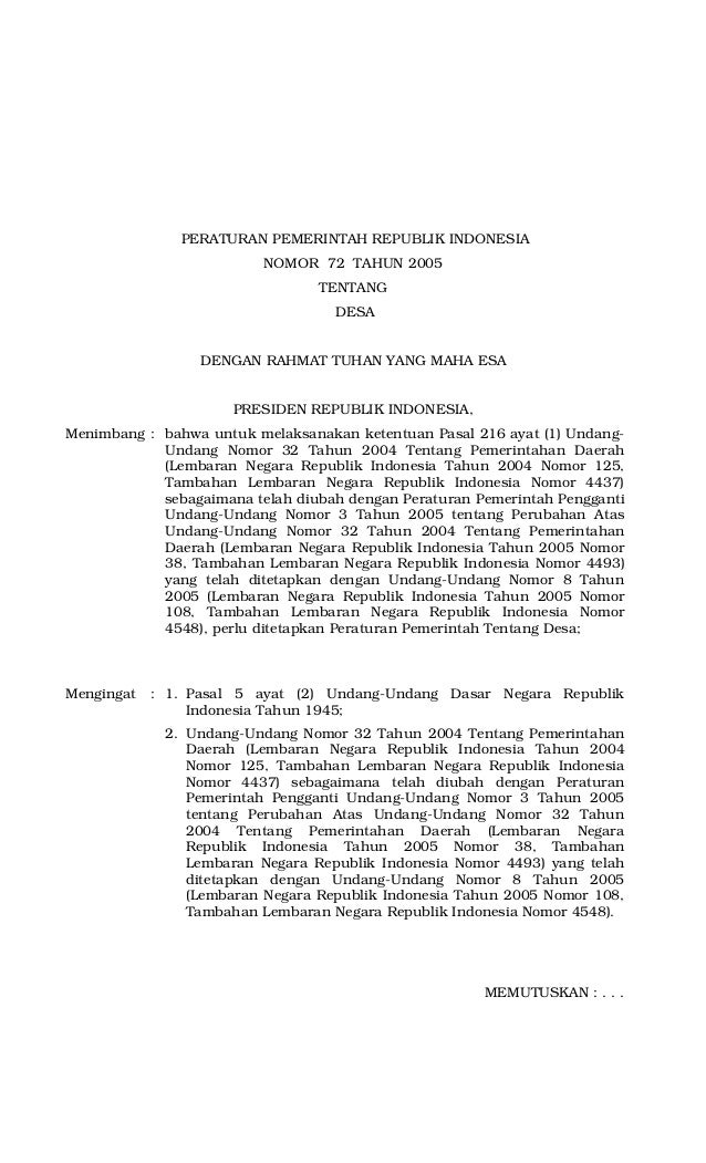 Peraturan Pemerintah No 72 Tahun 2005 Tentang Desa