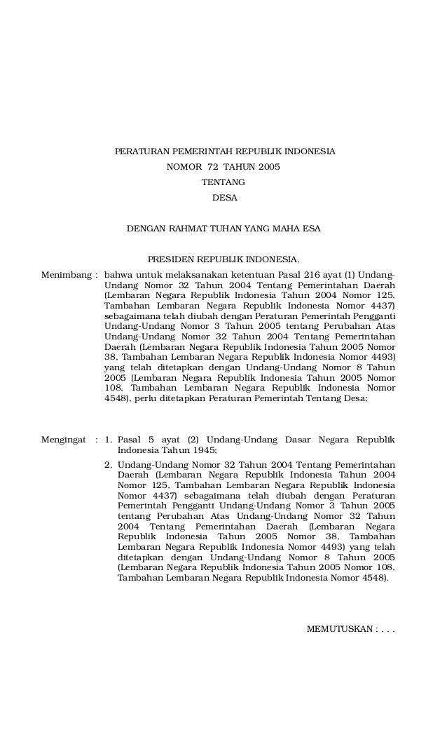 Peraturan Pemerintah No. 72 Tahun 2005 tentang Desa