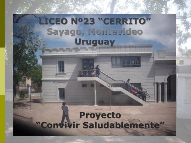 """LICEO Nº23 """"CERRITO""""  Sayago, Montevideo       Uruguay         Proyecto""""Convivir Saludablemente"""""""
