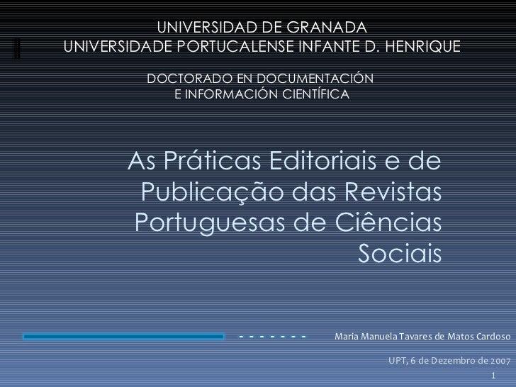 As Praticas Editoriais e de Publicação das Revistas Científicas Portuguesas de Ciências Sociais