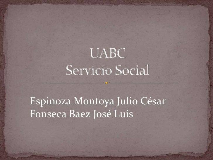 UABCServicio Social <br />Espinoza Montoya Julio César<br />Fonseca Baez José Luis<br />