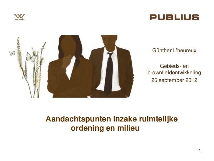 """Günther L""""heureux                              Gebieds- en                          brownfieldontwikkeling                ..."""