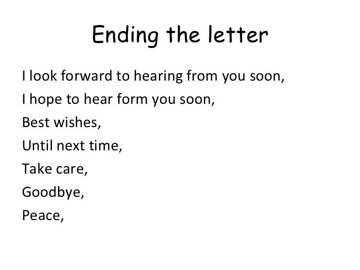 writing a letterletter endings