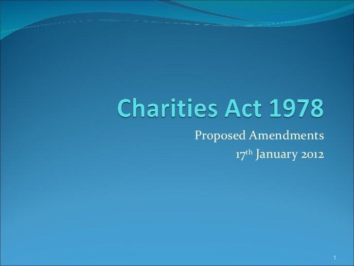 Proposed Amendments 17 th  January 2012