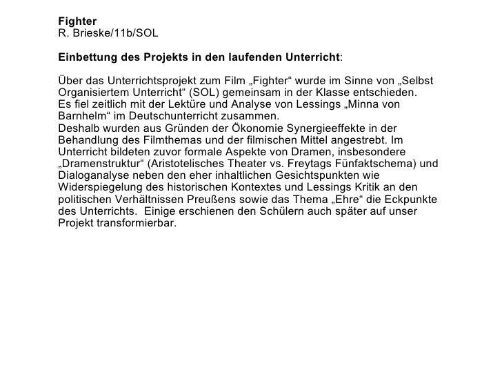 """Fighter R. Brieske/11b/SOL Einbettung des Projekts in den laufenden Unterricht : Über das Unterrichtsprojekt zum Film """"Fig..."""