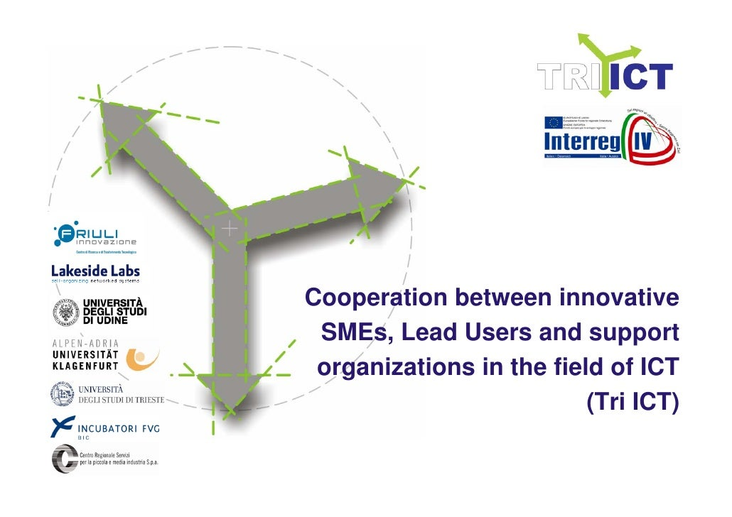Cooperation between innovative  SMEs, Lead Users and support  organizations in the field of ICT                           ...