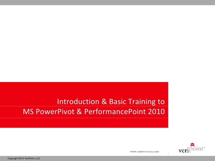 Introduction & Basic Training to              MS PowerPivot & PerformancePoint 2010     Copyright 2010 VeriPoint, LLC