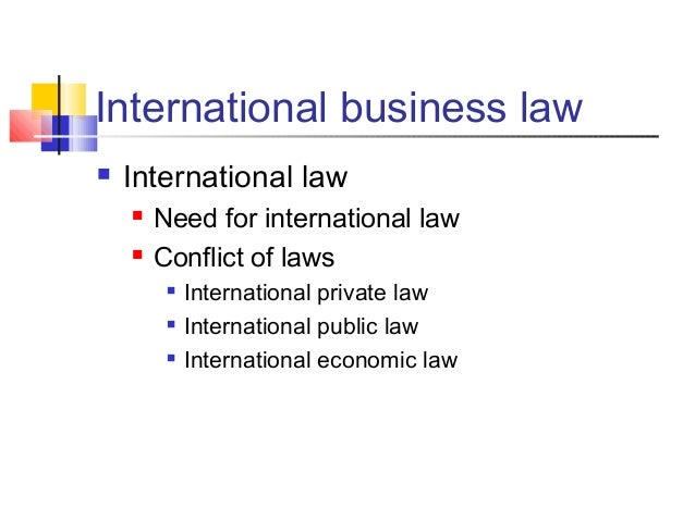 International business law  International law  Need for international law  Conflict of laws  International private law...