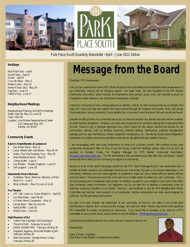 Park Place South Quarterly Community Newsletter april june 2012