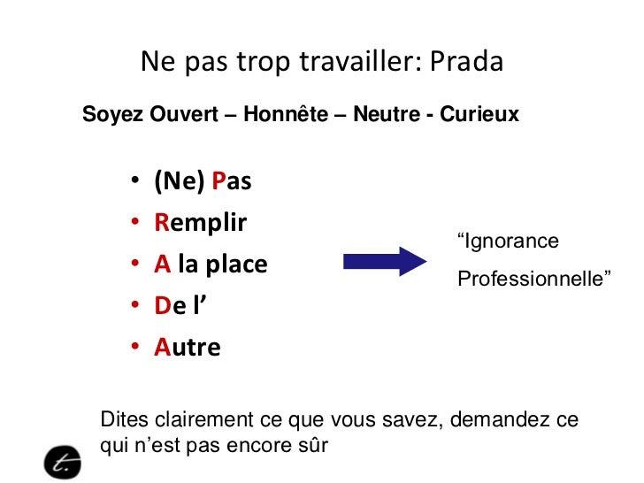 Ne pas trop travailler: PradaSoyez Ouvert – Honnête – Neutre - Curieux    •   (Ne) Pas    •   Remplir                     ...