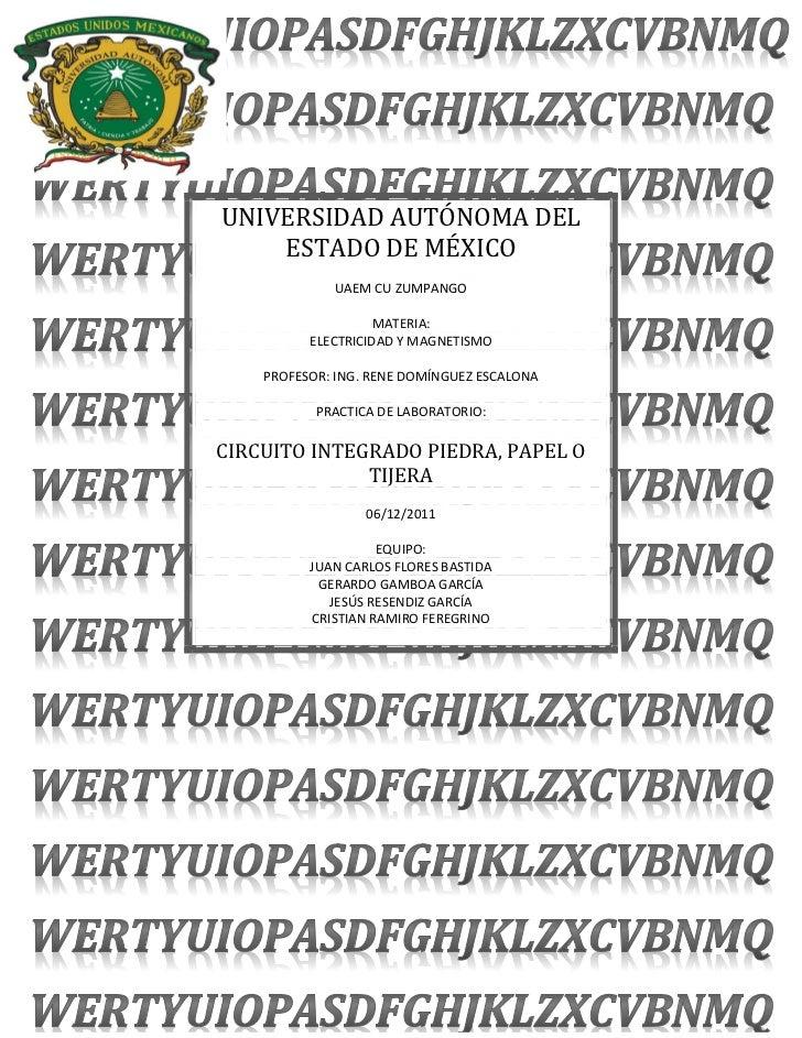 UNIVERSIDAD AUTÓNOMA DEL    ESTADO DE MÉXICO             UAEM CU ZUMPANGO                   MATERIA:          ELECTRICIDAD...