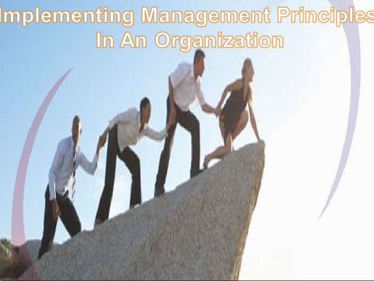 Implementing Management Principles in an organization