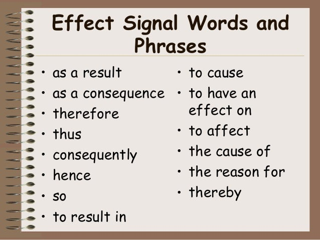 cause and effect essay key words