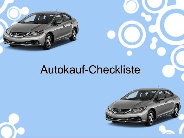 Autokauf-ChecklisteAutokauf-Checkliste