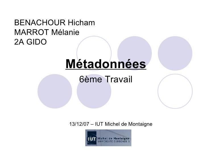 BENACHOUR Hicham MARROT Mélanie 2A GIDO Métadonnées 6ème Travail 13/12/07 – IUT Michel de Montaigne