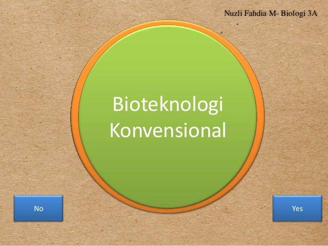 Nuzli Fahdia M- Biologi 3A  Are you Bioteknologi Konvensional ready?  3 1 2  No  Yes
