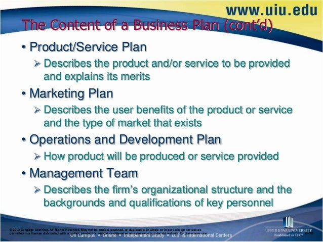 Content of a business plan